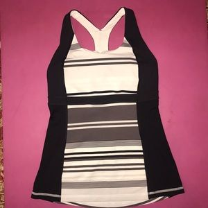 Lululemon Black, white & gray stripe tank top